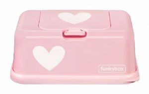 Funkybox tissue / wipe dispenser - Pink / White Heart